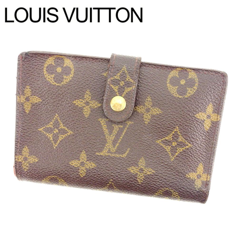 【中古】 ルイヴィトン Louis Vuitton がま口財布 二つ折り メンズ可 /ポルトモネ ビエヴィエノワ モノグラム M61663 ブラウン PVC×レザー (あす楽対応)廃盤色 人気 Y1465 .