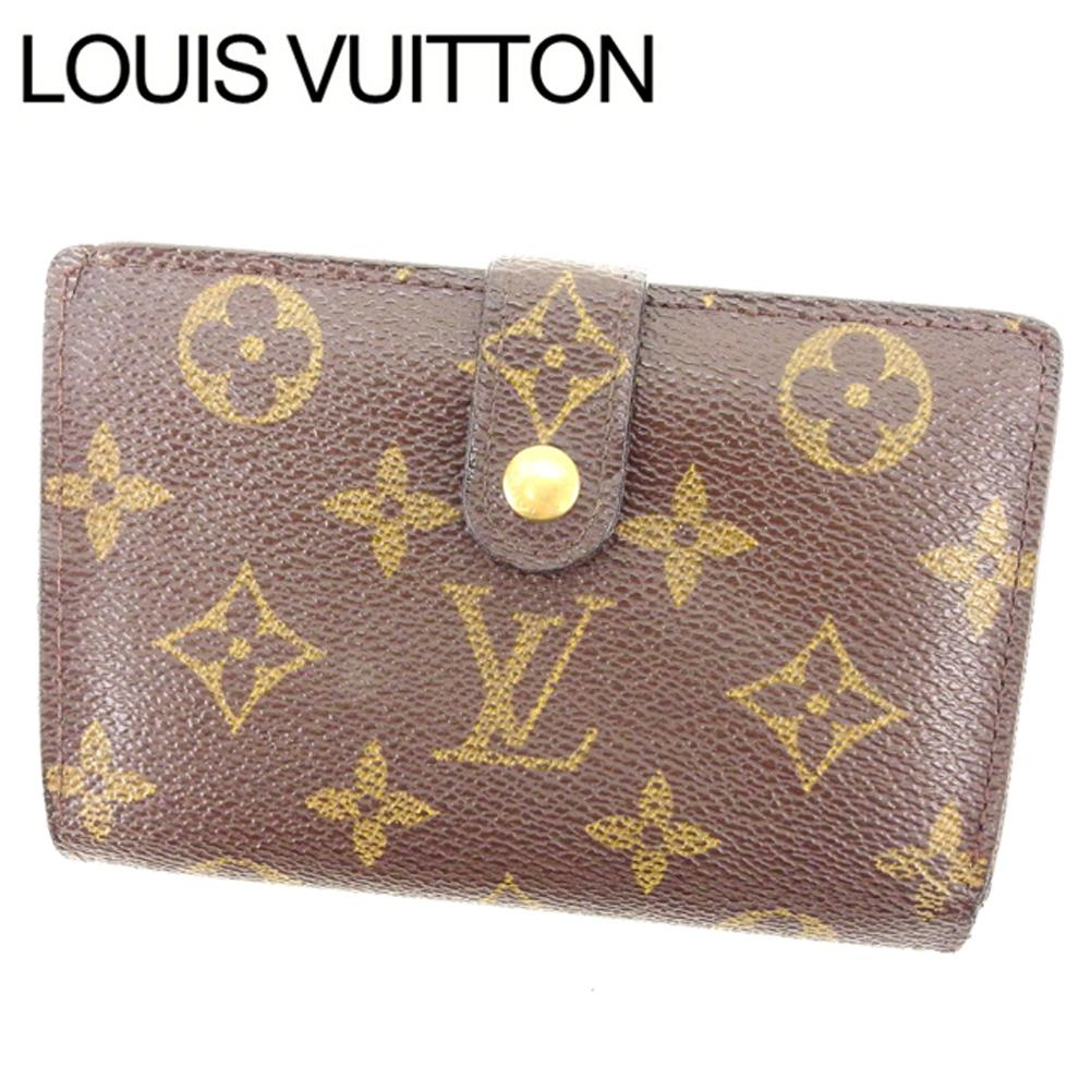 【中古】 ルイヴィトン Louis Vuitton がま口財布 二つ折り メンズ可 /ポルトモネ ビエヴィエノワ モノグラム M61663 ブラウン PVC×レザー (あす楽対応)人気 激安 Y1498 .