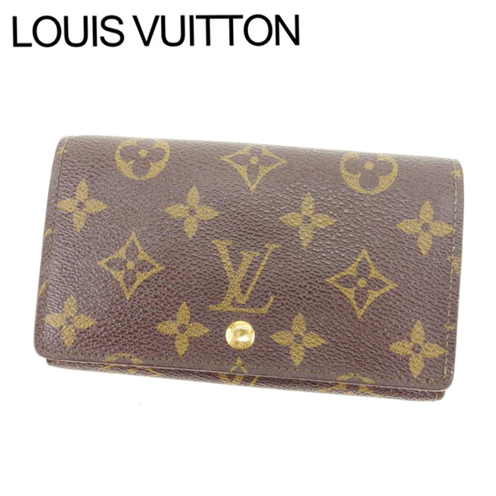 【中古】 ルイヴィトン Louis Vuitton L字ファスナー財布 二つ折り メンズ可 /ポルトモネビエトレゾール モノグラム M61730 ブラウン PVC×レザー (あす楽対応)人気 激安 Y1644 .