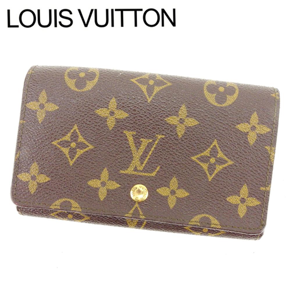 【中古】 ルイヴィトン Louis Vuitton L字ファスナー財布 二つ折り メンズ可 /ポルトモネビエトレゾール モノグラム M61730 ブラウン PVC×レザー (あす楽対応)人気 激安 Y1696 .