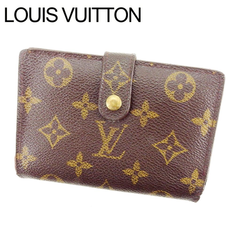 【中古】 ルイヴィトン Louis Vuitton がま口財布 二つ折り メンズ可 /ポルトモネ ビエヴィエノワ モノグラム M61663 ブラウン PVC×レザー (あす楽対応)人気 激安 Y1757 .