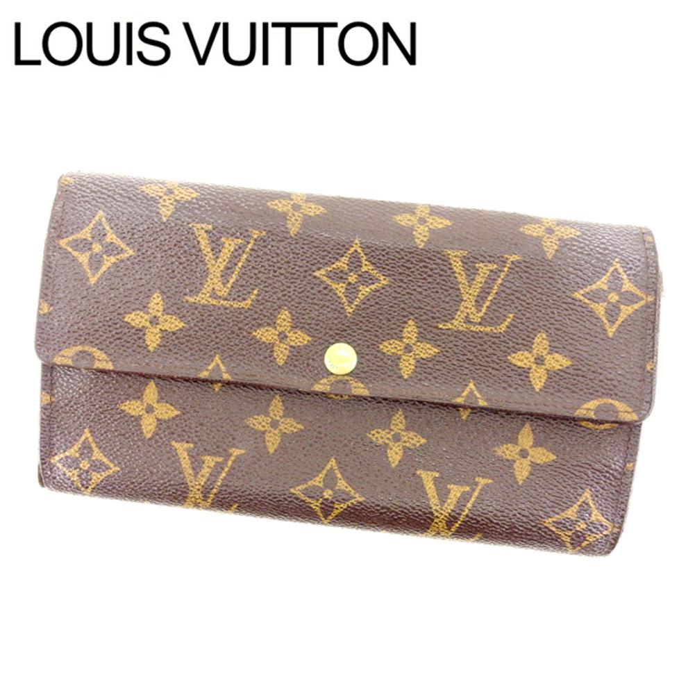【中古】 ルイヴィトン Louis Vuitton 長財布 ファスナー 二つ折り メンズ可 ポシェットポルトモネクレディ モノグラム M61725 ブラウン モノグラムキャンバス (あす楽対応)激安 Y1925
