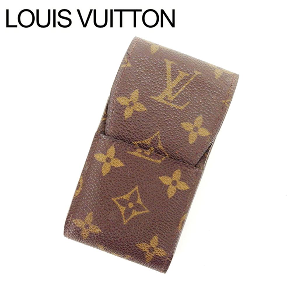 【中古】 ルイヴィトン Louis Vuitton シガレットケース タバコケース レディース エテュイシガレット ブラウン モノグラムキャンバス T12793