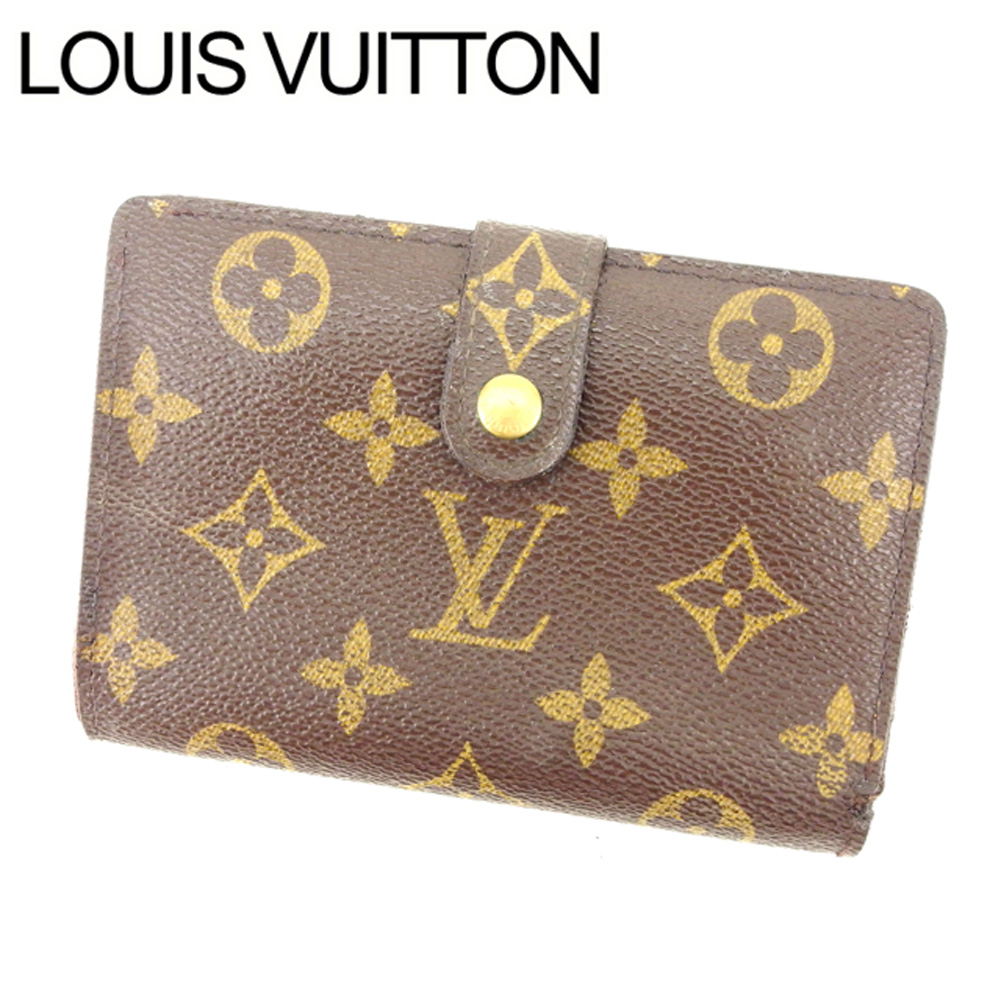 【中古】 ルイヴィトン Louis Vuitton がま口財布 二つ折り メンズ可 ポルトモネビエヴィエノワ モノグラム M61663 ブラウン モノグラムキャンバス (あす楽対応)激安 Y2096 .