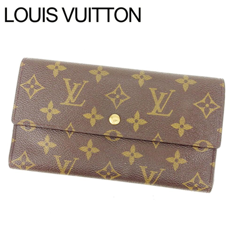 【中古】 ルイヴィトン Louis Vuitton 三つ折り財布 /メンズ可 /ポルトトレゾールインターナショナル モノグラム M61217 PVC×レザー (あす楽対応)激安 Y2099 .