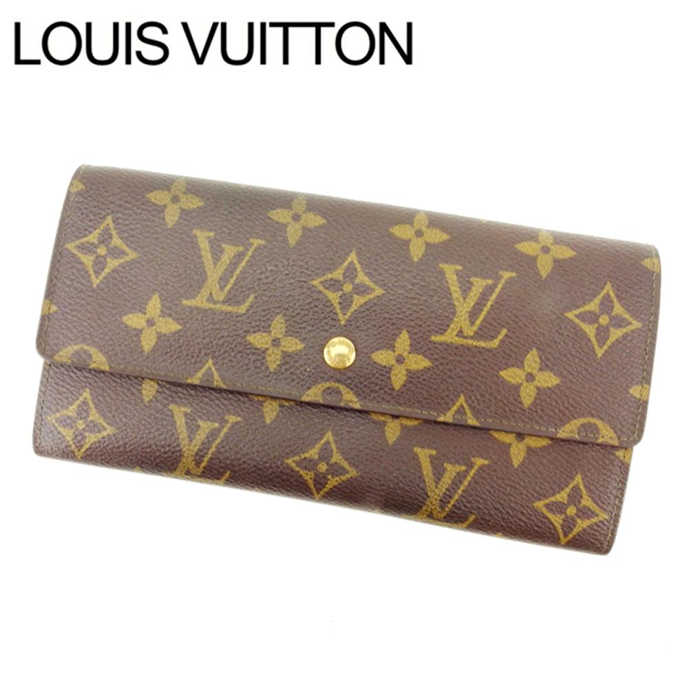 【中古】 ルイヴィトン Louis Vuitton 長財布 ファスナー 二つ折り メンズ可 旧ポシェットポルトモネクレディ モノグラム M61725 ブラウン モノグラムキャンバス (あす楽対応)激安 Y2102