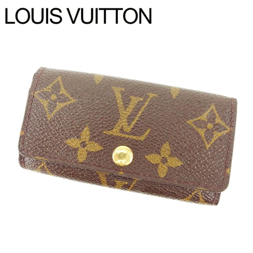 【中古】 ルイヴィトン Louis Vuitton キーケース 4連キーケース レディース ミュルティクレ4 ブラウン モノグラムキャンバス T13072 .