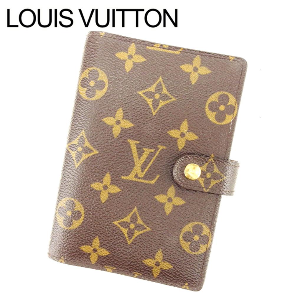 【中古】 ルイ ヴィトン Louis Vuitton 手帳カバー カード入れ×3 ブラウン アジェンダPM モノグラム レディース Y2355s