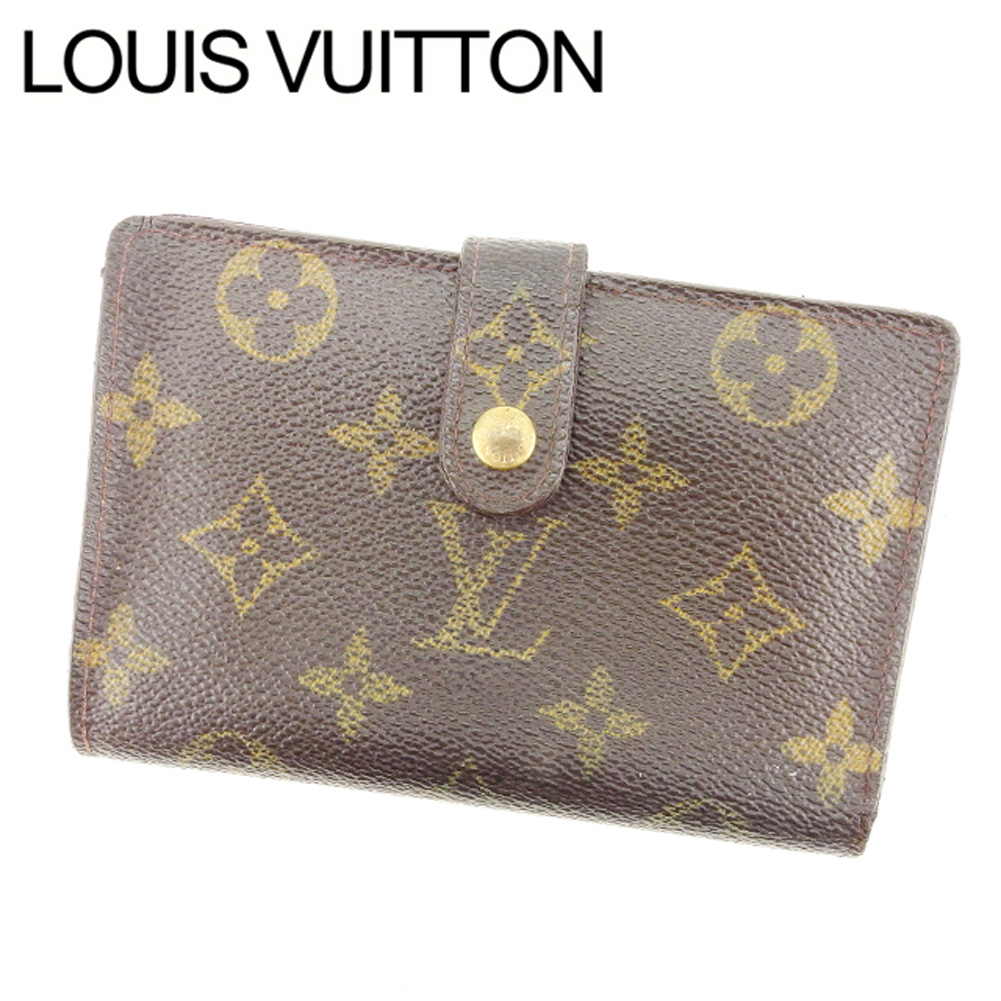 【中古】 ルイヴィトン Louis Vuitton がま口財布 二つ折り メンズ可 /ポルトモネ ビエヴィエノワ モノグラム M61663 ブラウン PVC×レザー (あす楽対応)激安 Y2372 .