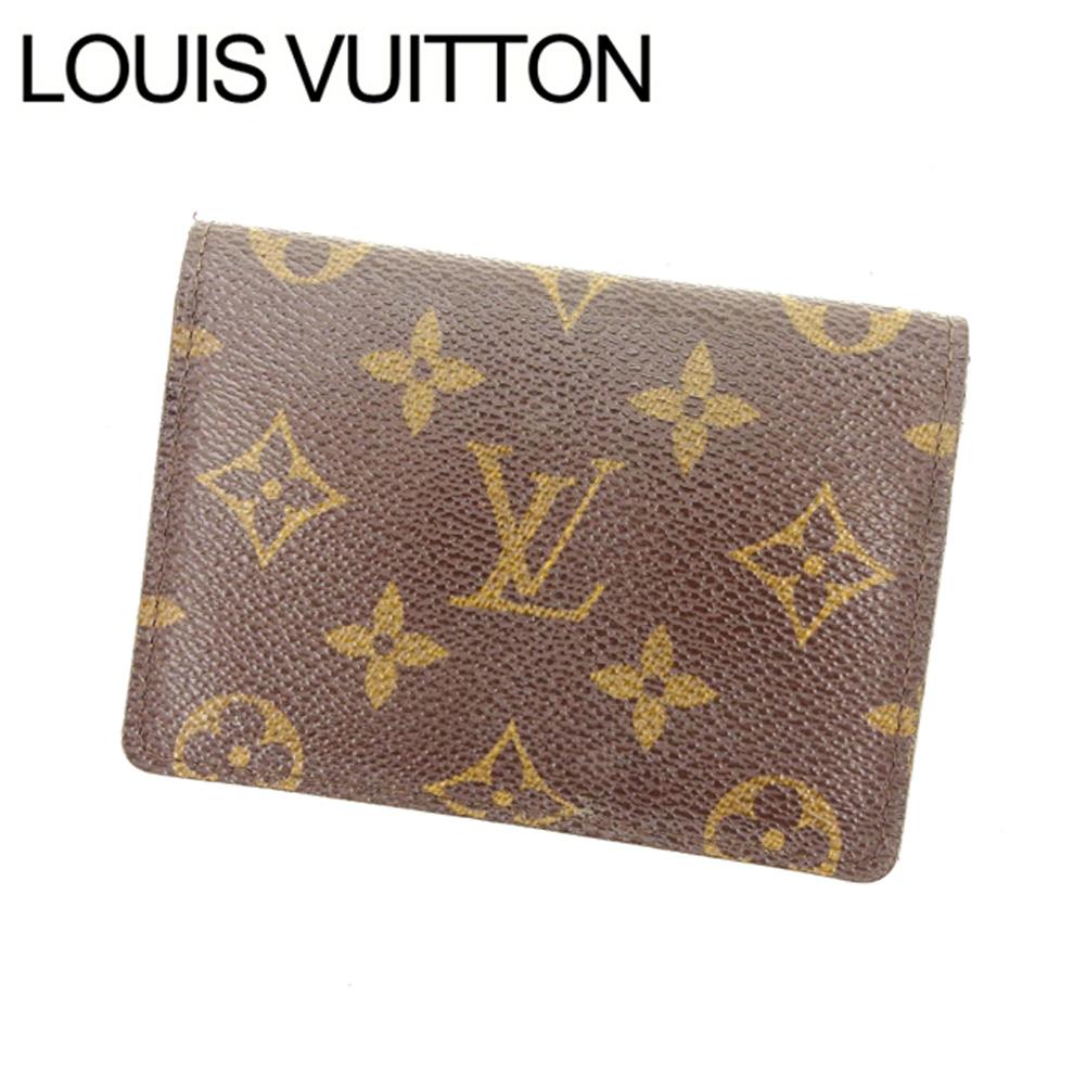 【中古】 ルイヴィトン Louis Vuitton 定期入れ パスケース レディース ポルト2カルトヴェルティカル ブラウン PVC×レザ- T16400 .