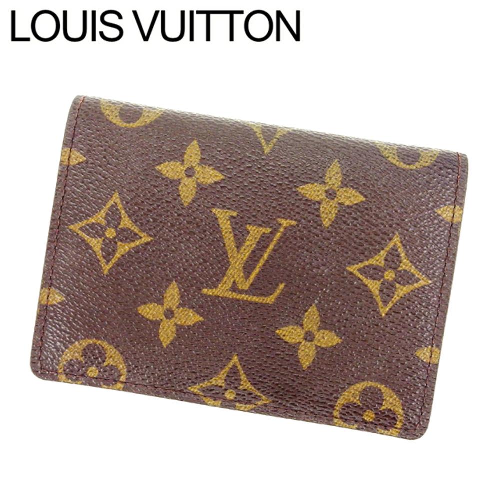 【中古】 ルイヴィトン Louis Vuitton 定期入れ /パスケース /メンズ可 /ポルト2カルトヴェルティカル モノグラム M60533 ブラウン PVC×レザー (あす楽対応)(激安・即納) Y240 .