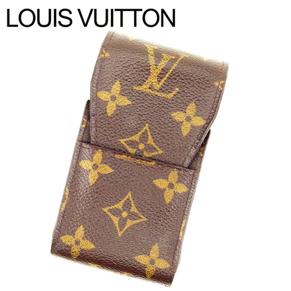 【中古】 ルイヴィトン Louis Vuitton シガレットケース タバコケース メンズ可 エテュイシガレット モノグラム M63024 ブラウン モノグラムキャンバス (あす楽対応) 良品 Y2418