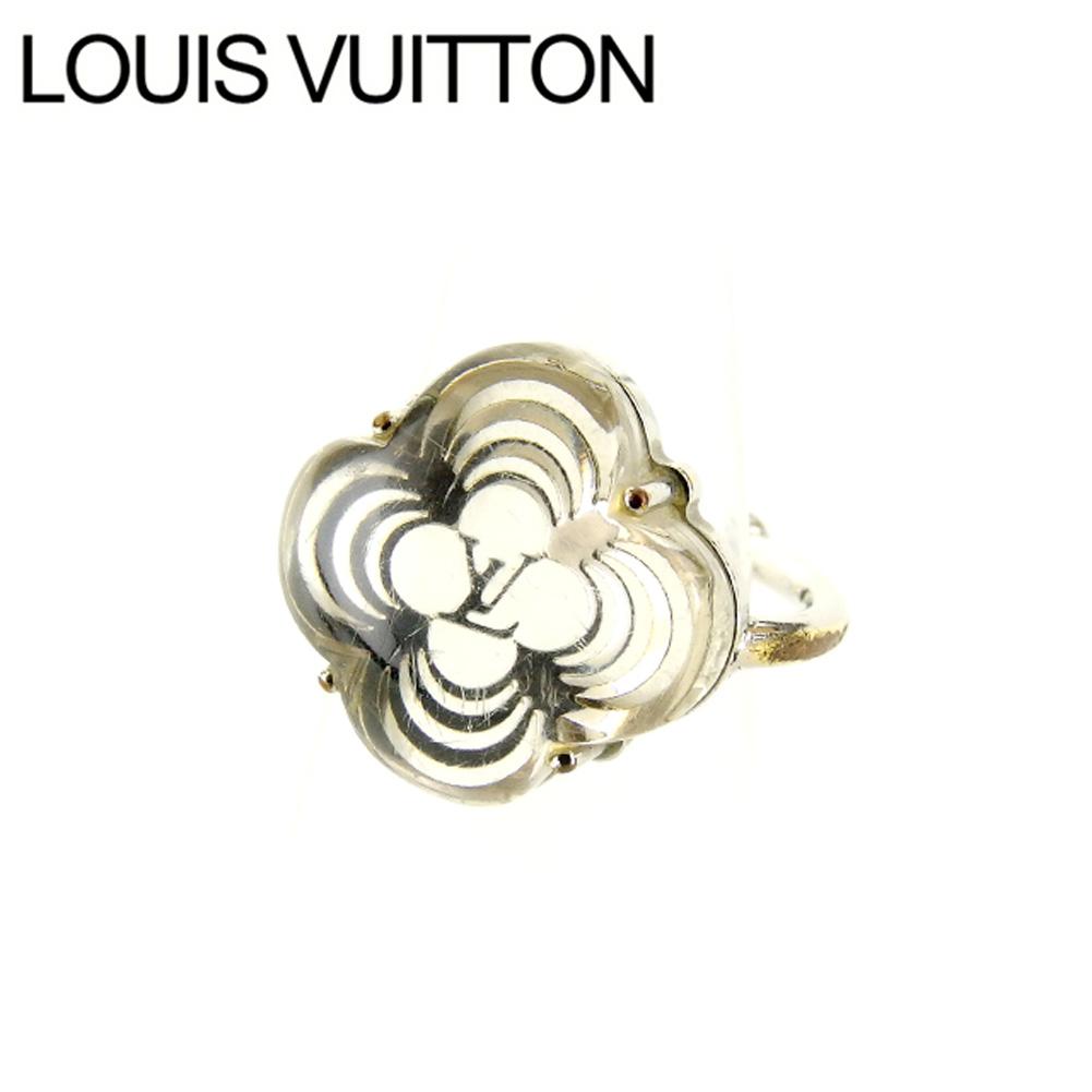 【中古】 ルイヴィトン Louis Vuitton 指輪 リング アクセサリー レディース バーグアラフォリ モノグラムフラワー M65665 グリ(シルバー) レジン×シルバーメッキ (あす楽対応) 良品 Y2423