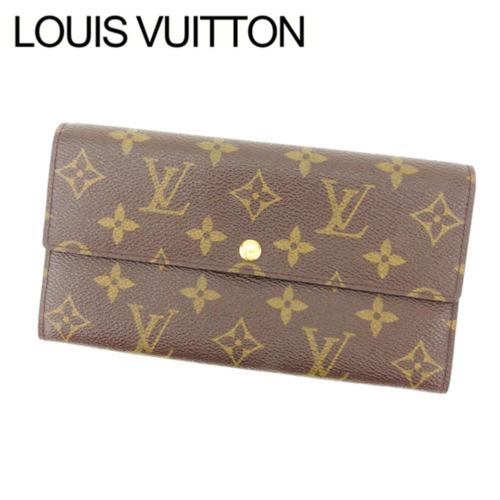 【中古】 ルイヴィトン Louis Vuitton 長財布 ファスナー 二つ折り メンズ可 ポシェットポルトモネクレディ モノグラム M61725 ブラウン モノグラムキャンバス (あす楽対応)激安 Y2456