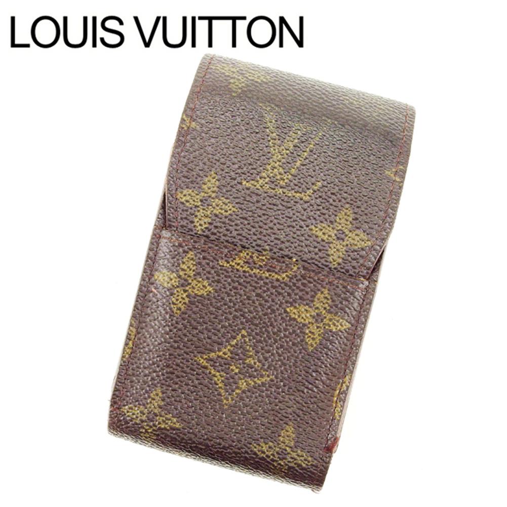 【中古】 ルイヴィトン Louis Vuitton シガレットケース タバコケース レディース エテュイシガレット ブラウン モノグラムキャンバス T14850