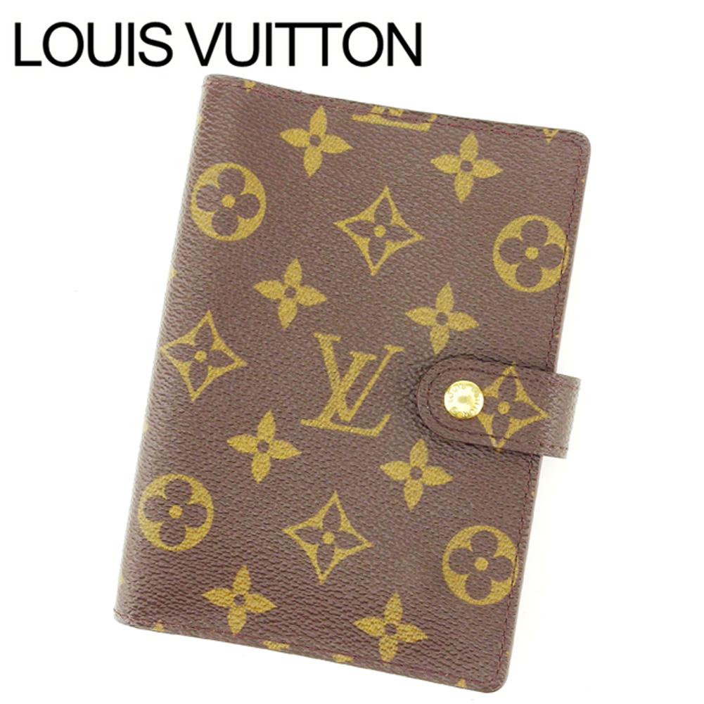 【中古】 ルイヴィトン Louis Vuitton 手帳カバー カード入れ×3 レディース アジェンダPM ブラウン モノグラムキャンバス T11109