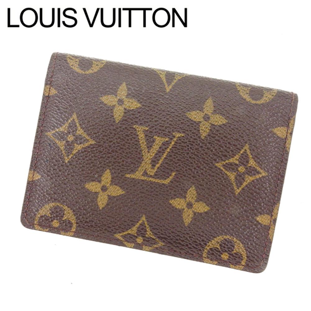 【中古】 ルイヴィトン Louis Vuitton 定期入れ パスケース レディース ポルト2カルトヴェルティカル モノグラム ブラウン PVC×レザ- 良品 Y3895