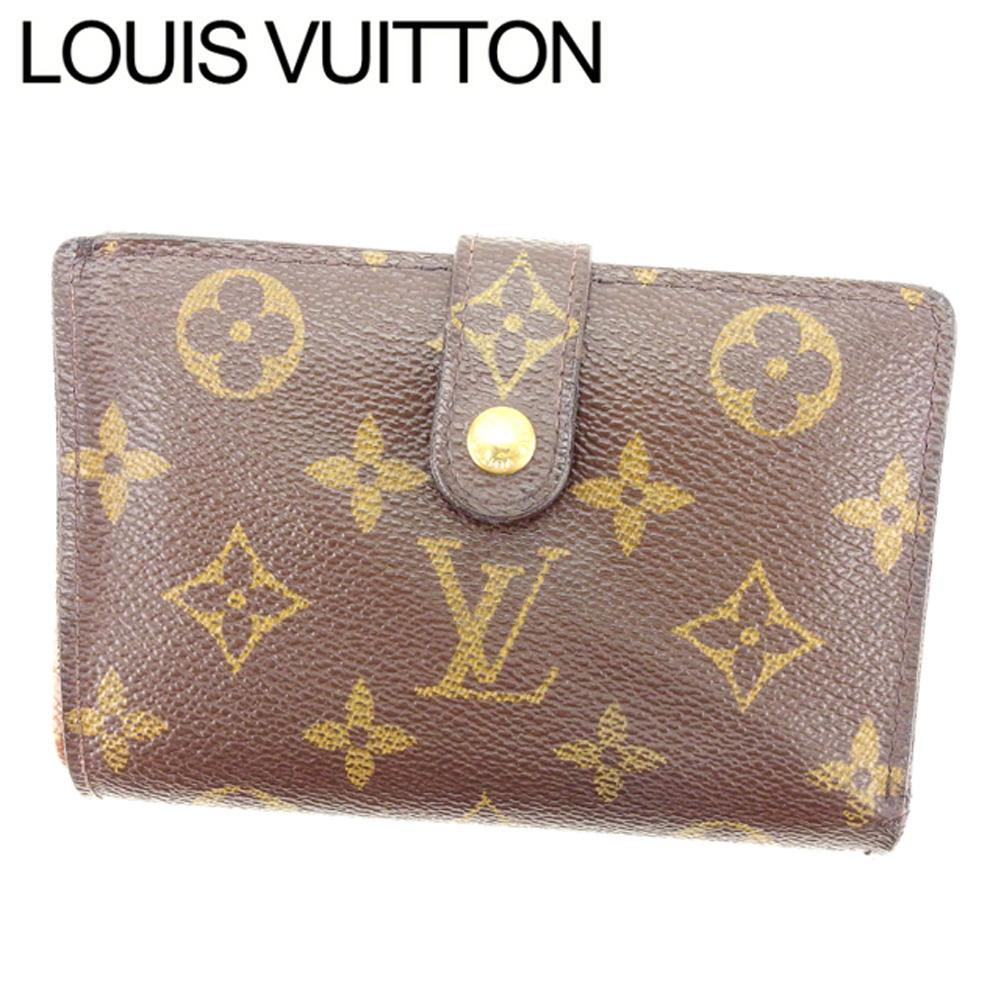 【中古】 ルイヴィトン Louis Vuitton がま口財布 二つ折り /メンズ可 /ポルトモネ ビエヴィエノワ モノグラム M61663 ブラウン PVC×レザー (あす楽対応)(激安・即納) Y514 .