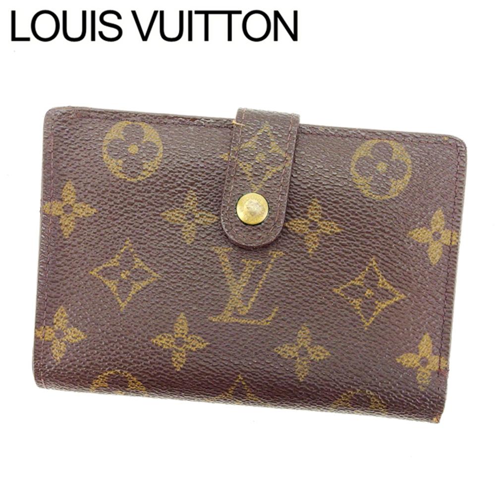 【中古】 ルイヴィトン Louis Vuitton がま口財布 二つ折り /メンズ可 /ポルトモネ ビエヴィエノワ モノグラム M61663 ブラウン PVC×レザー (あす楽対応)人気 激安 Y640 .