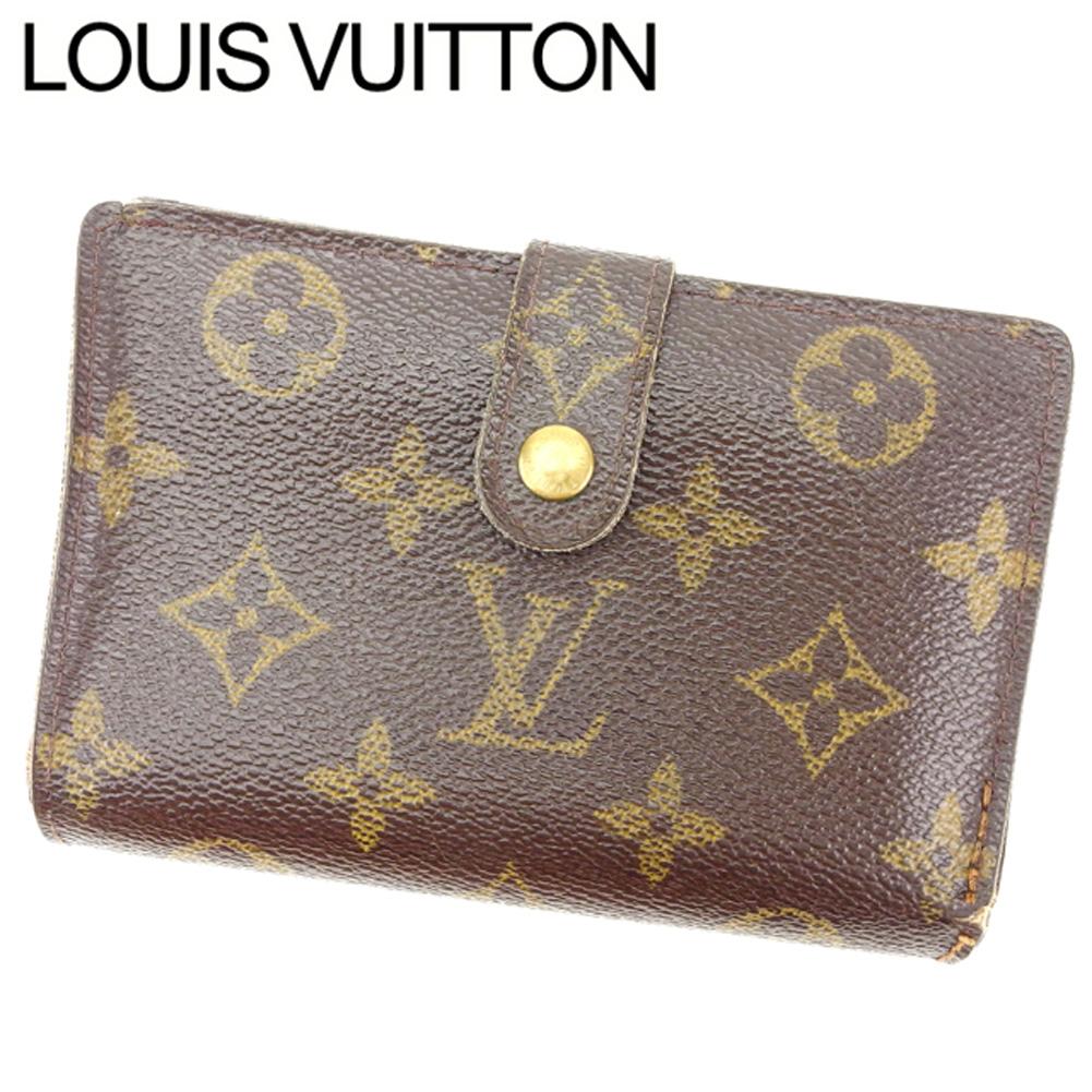 【中古】 ルイヴィトン Louis Vuitton がま口財布 二つ折り メンズ可 ポルトモネビエヴィエノワ モノグラム M61663 ブラウン モノグラムキャンバス (あす楽対応)人気 激安 Y866 .