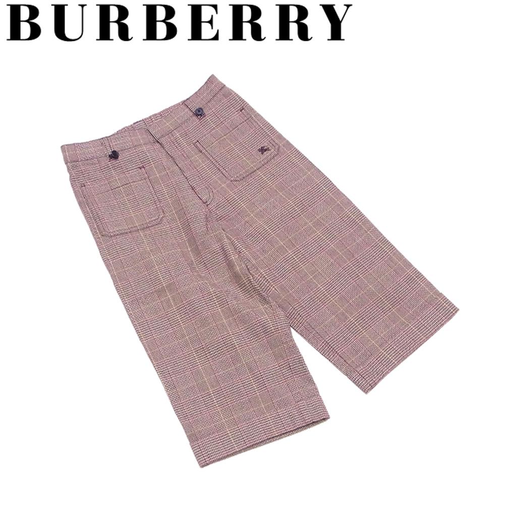 【中古】 バーバリー BURBERRY パンツ ホース刺繍 ボトムス ボーイズ メンズ ♯キッズ130Aサイズ ベージュ ブラウン レッド 綿 コットン ポリウレタン B1063 .