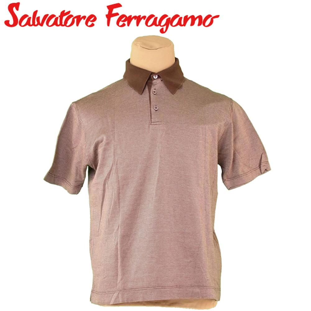 【中古】 サルヴァトーレ フェラガモ Salvatore Ferragamo ポロシャツ 半袖 カットソー メンズ ♯Mサイズ ブラウン ベージュ コットン 綿 E1405 .