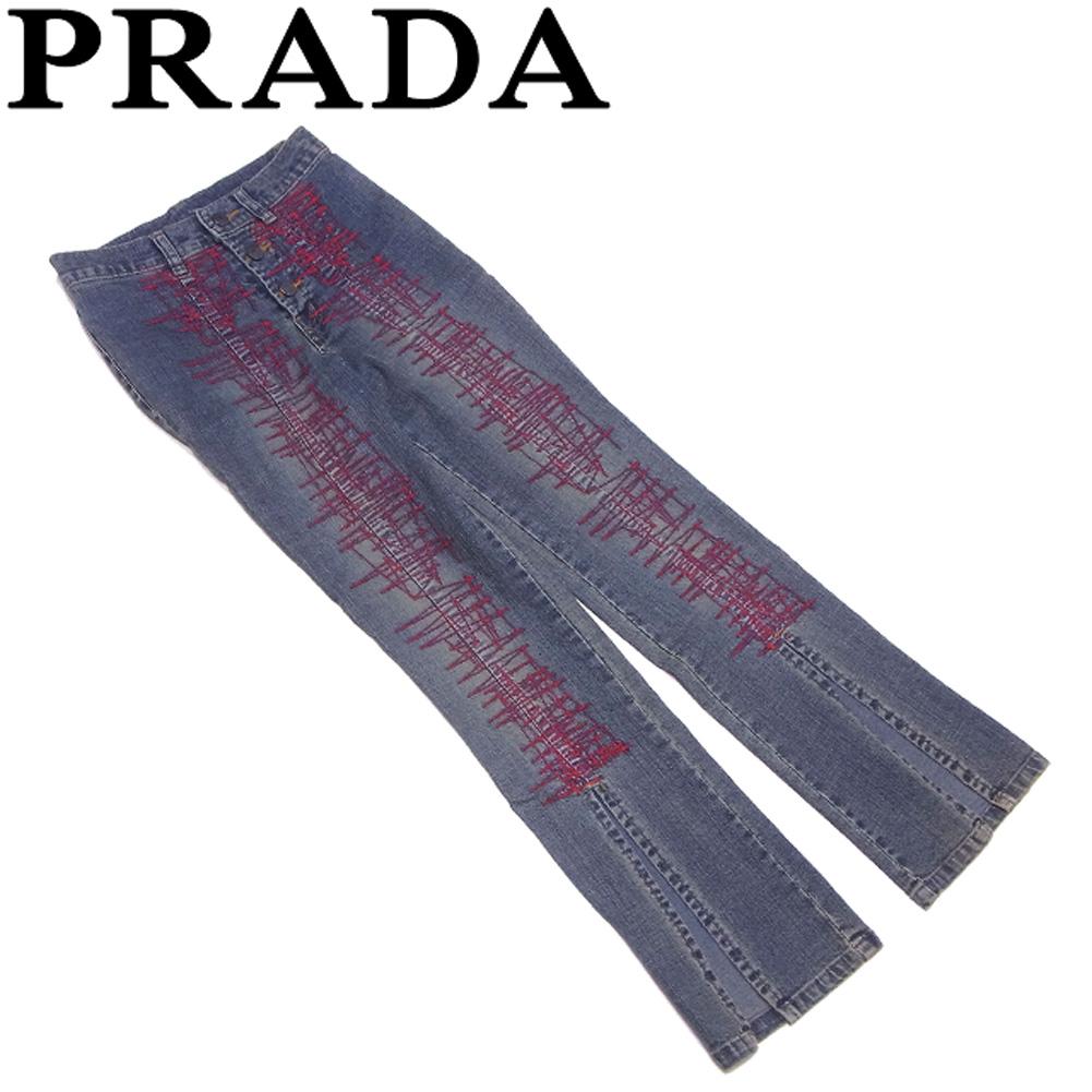 【中古】 プラダ PRADA ジーンズ 裾スリット パンツ レディース ♯24サイズ ブルー レッド系 綿 コットン ポリウレタン E1466 .