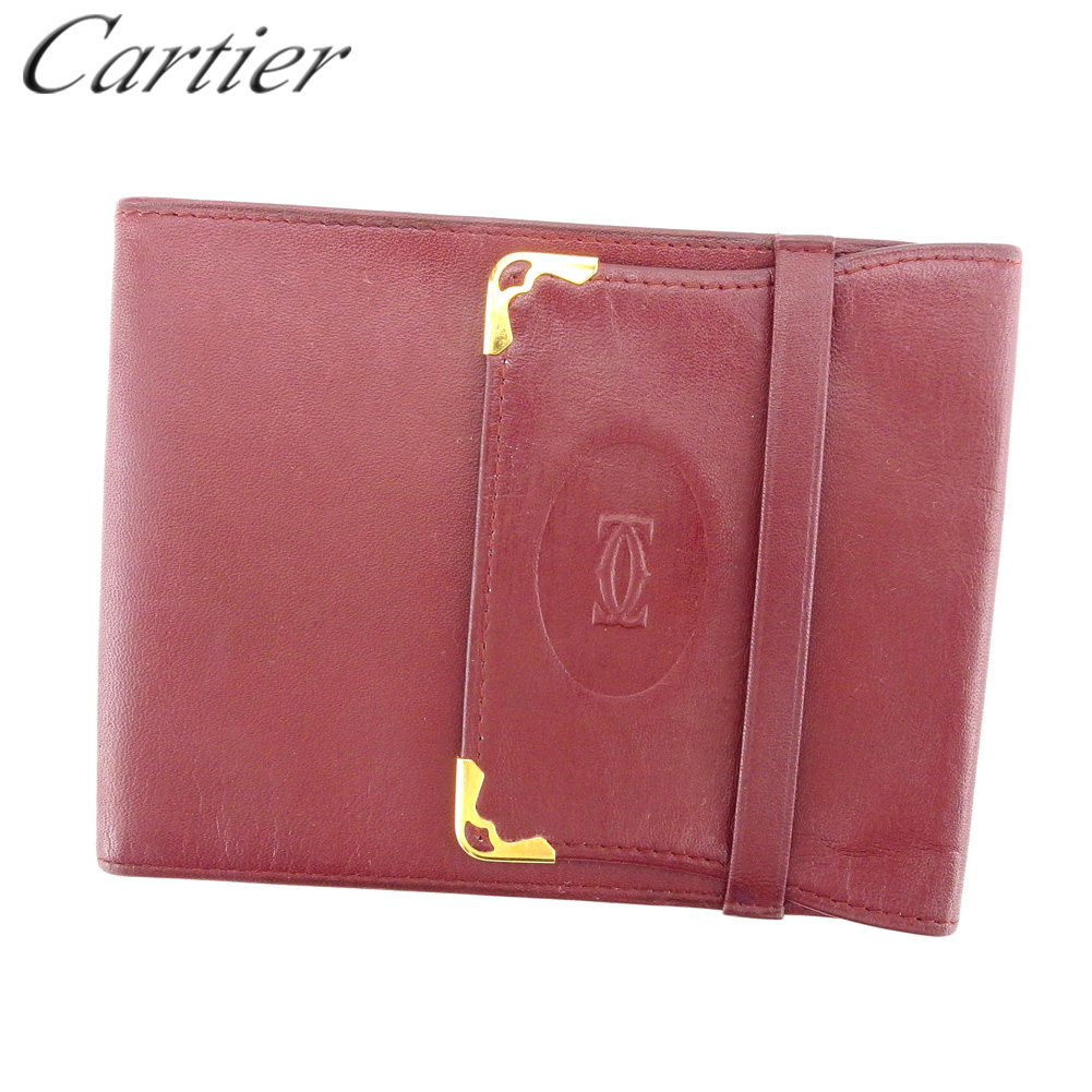 【中古】 カルティエ Cartier 三つ折り 札入れ 小切手ケース レディース メンズ ボルドー ゴールド レザー L2790