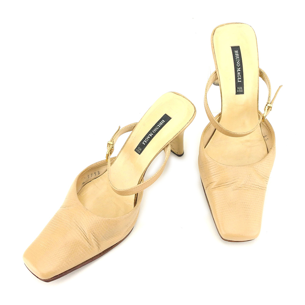 【中古】 ブルーノ マリ BRUNOMAGLI パンプス シューズ 靴 レディース ♯35 スクエアトゥ ベージュ ゴールド 型押しレザー L2803