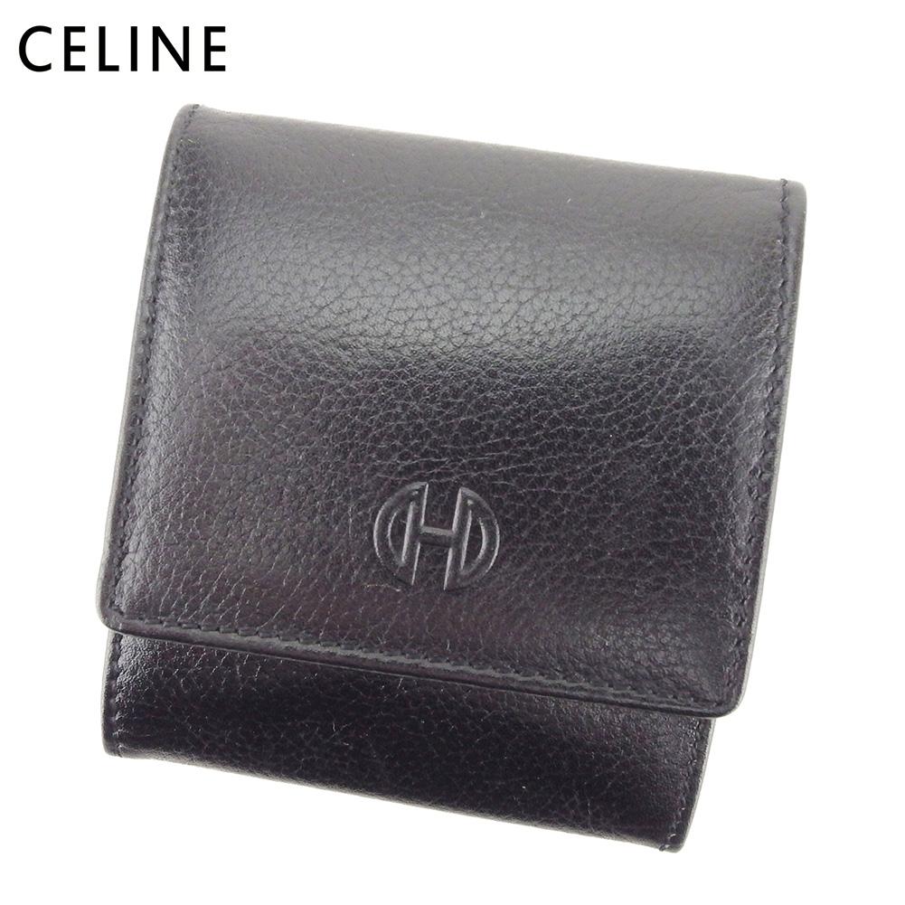 【中古】 セリーヌ CELINE コインケース 小銭入れ メンズ ボックス式 ブラック レザー L2832 .