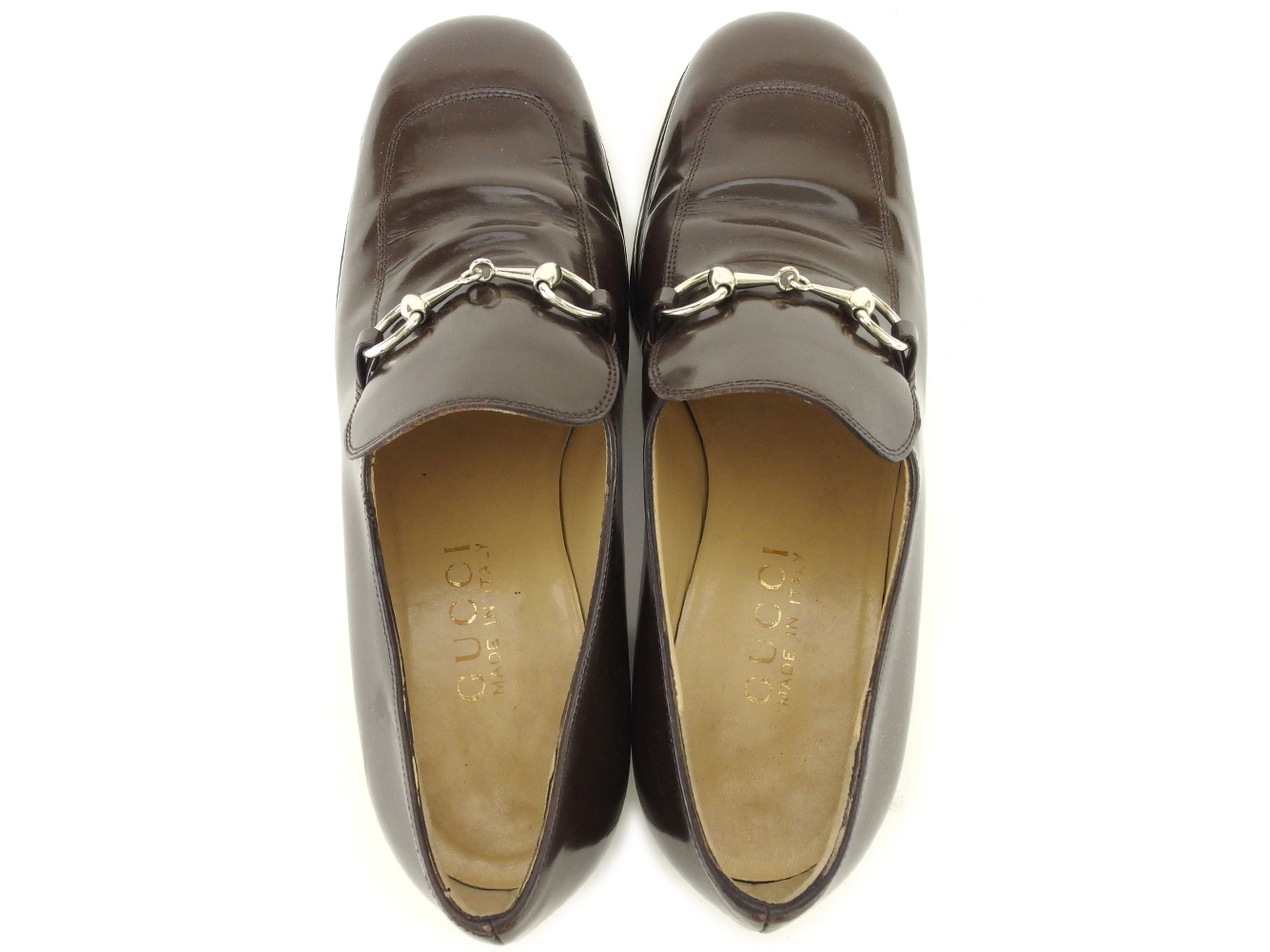 30f4738ef Gucci GUCCI loafer shoes shoes Lady's ♯ 35 half C hose bit brown silver  leather popularity sale L2835.