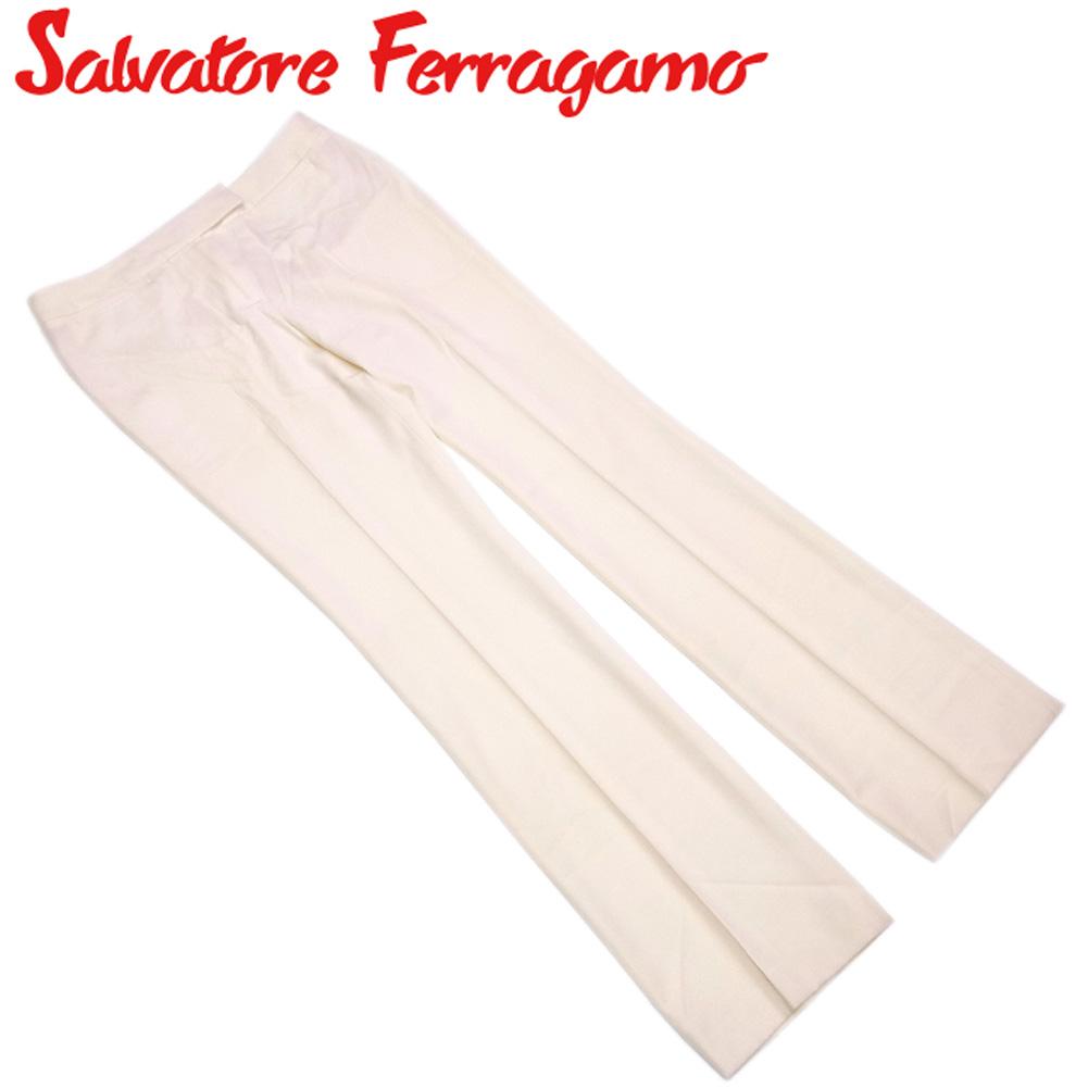 【中古】 サルヴァトーレ フェラガモ Salvatore Ferragamo パンツ ボトムス レディース ♯42サイズ ベージュ ウール 毛 T10251