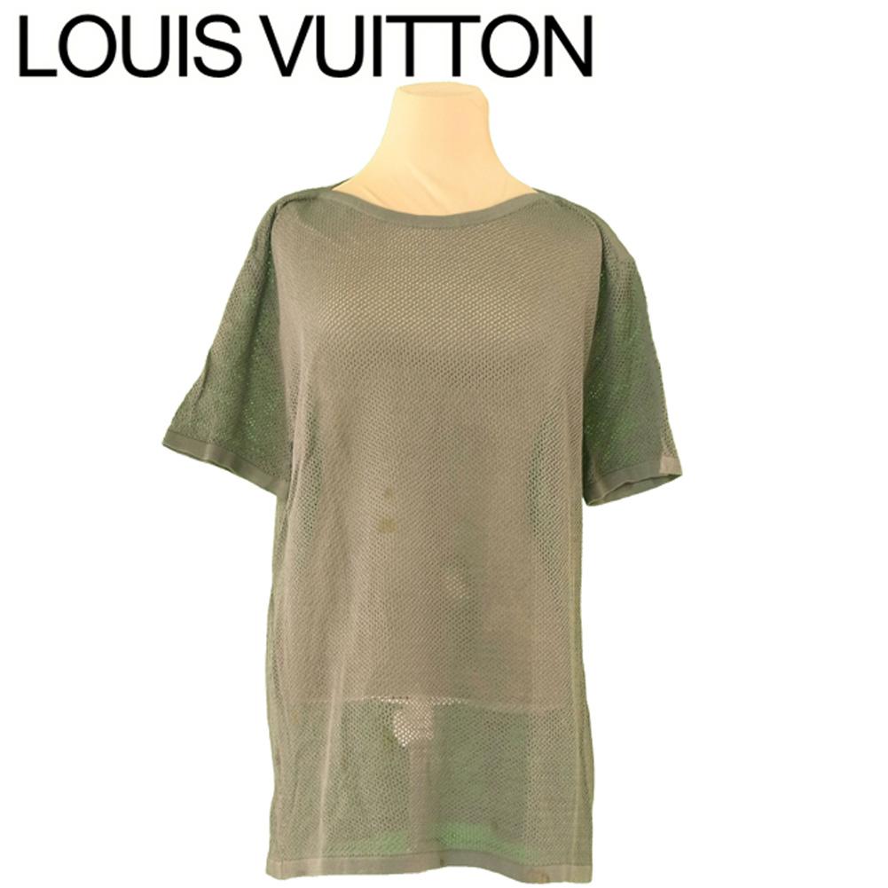 【中古】 ルイ ヴィトン Louis Vuitton カットソー 半袖 トップス レディース メンズ ♯Mサイズ グリーン 綿 コットン T10257 .
