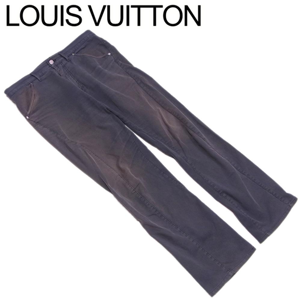 【中古】 ルイ ヴィトン Louis Vuitton パンツ ボトムス メンズ ♯38サイズ グレー 灰色 シルバー コットン 綿 ポリウレタン T10484 .