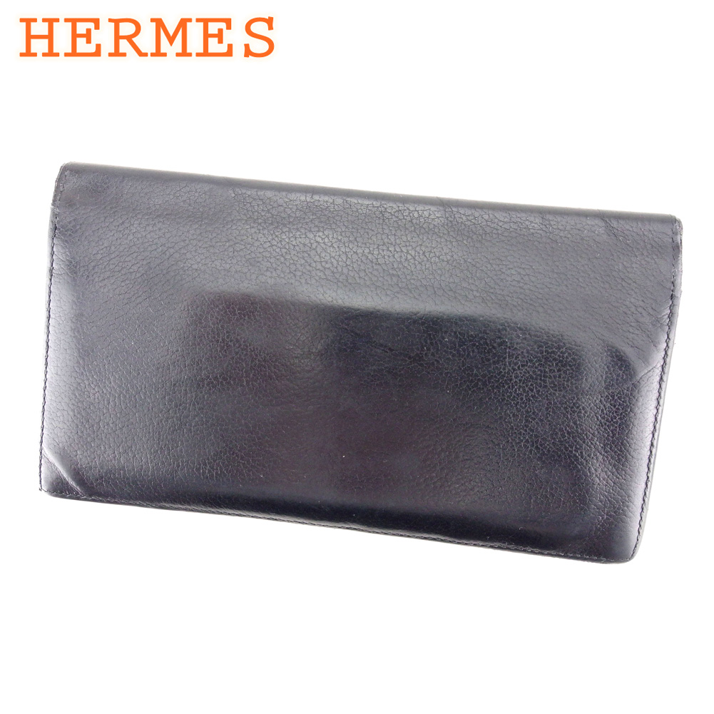 【中古】 エルメス HERMES 長札入れ 札入れ メンズ ブラック レザー T9590 .