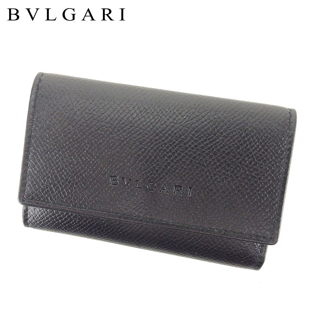 【中古】 ブルガリ BVLGARI キーケース 6連キーケース メンズ ブラック シルバー レザー T9634