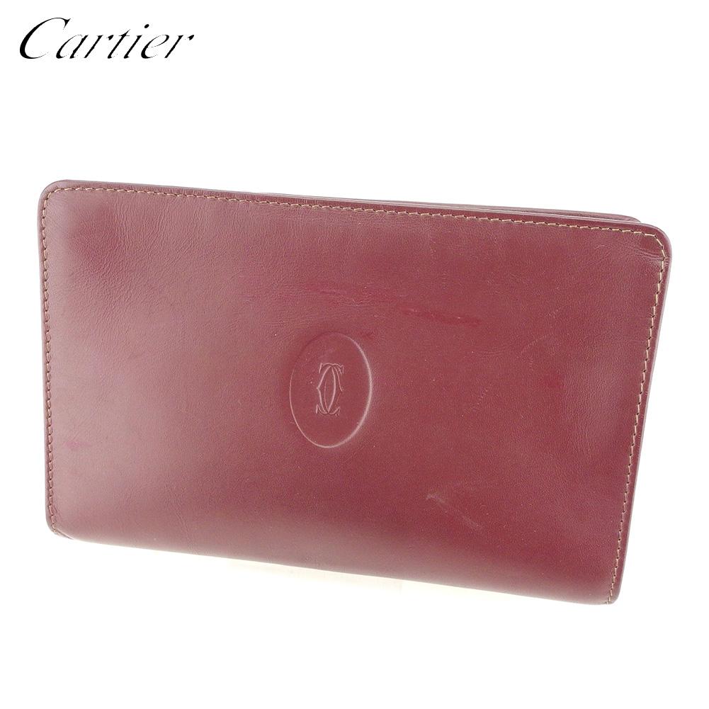 【中古】 カルティエ Cartier ポーチ 化粧ポーチ レディース メンズ ボルドー ゴールド レザー T9675