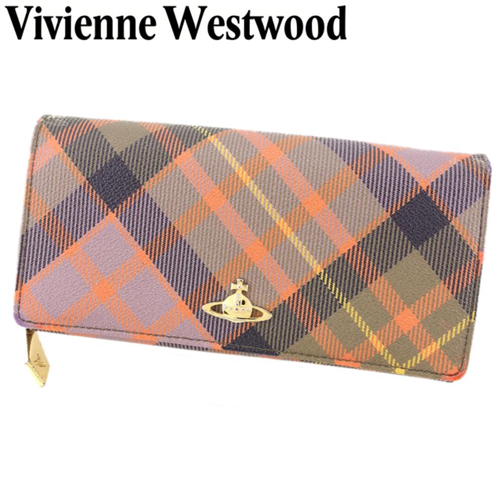 c3ae2c33306b 【中古】 ヴィヴィアン ウエストウッド Vivienne Westwood 長財布 ラウンドファスナー レディース オーブ パープル オレンジ