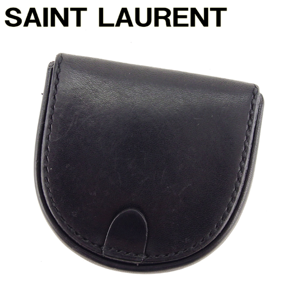 【中古】 サンローラン SAINT LAURENT コインケース 小銭入れ レディース メンズ ブラックレディース レザー B972