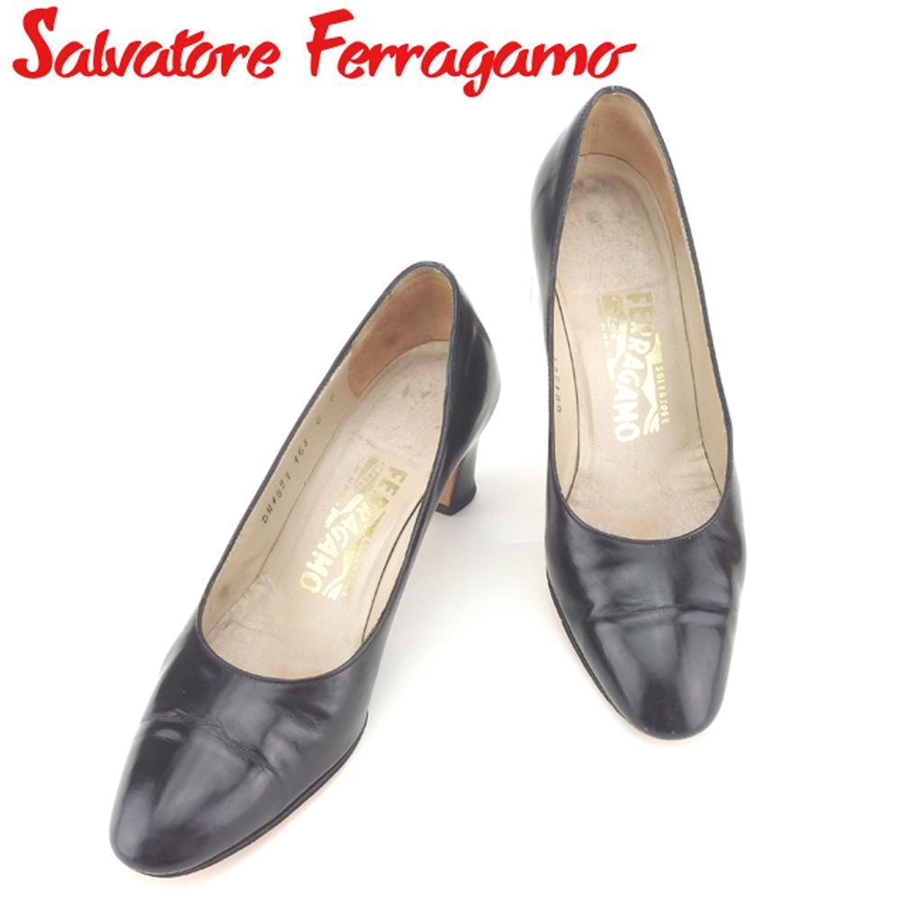 【中古】 サルヴァトーレ フェラガモ Salvatore Ferragamo パンプス シューズ 靴 レディース #6 ブラック レザー B976