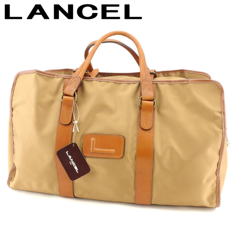 【中古】 ランセル LANCEL ボストンバッグ 旅行用バッグ レディース メンズ  ベージュ ブラウン ナイロン×レザー 超美品 セール B981 .