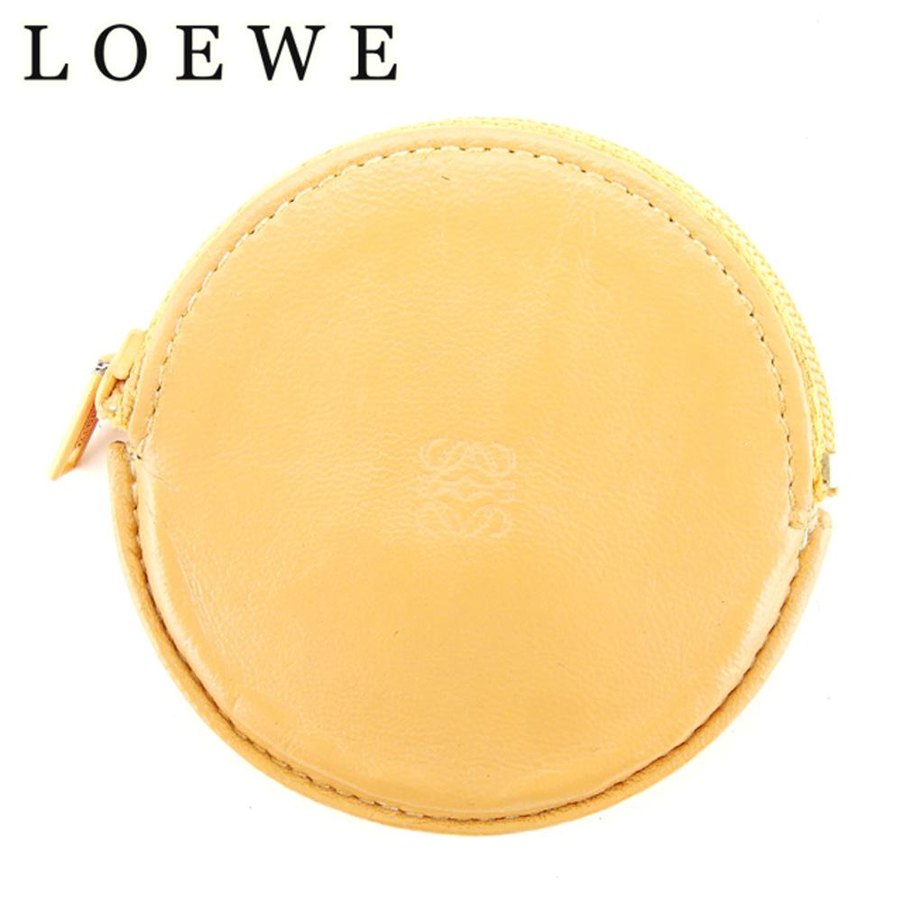 【中古】 ロエベ LOEWE コインケース 小銭入れ レディース メンズ ラウンドフォルム 丸型 アナグラム ベージュ レザー 人気 セール C3238