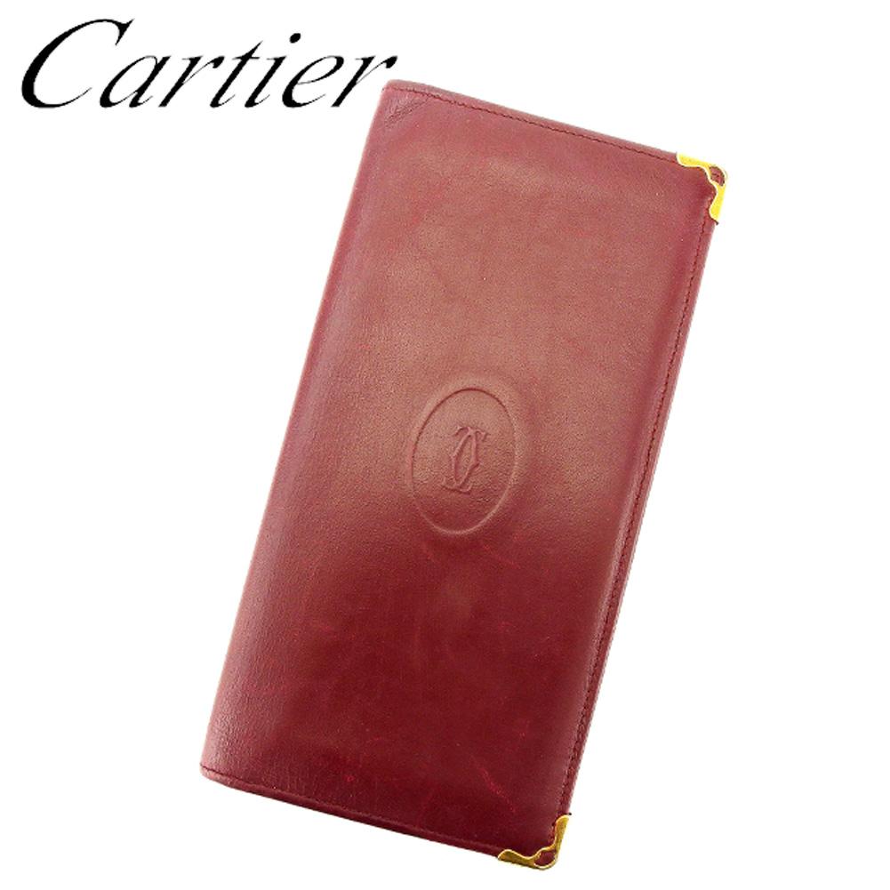 【中古】 カルティエ Cartier 長札入れ 札入れ レディース メンズ 可 ボルドー ゴールド レザー C3251