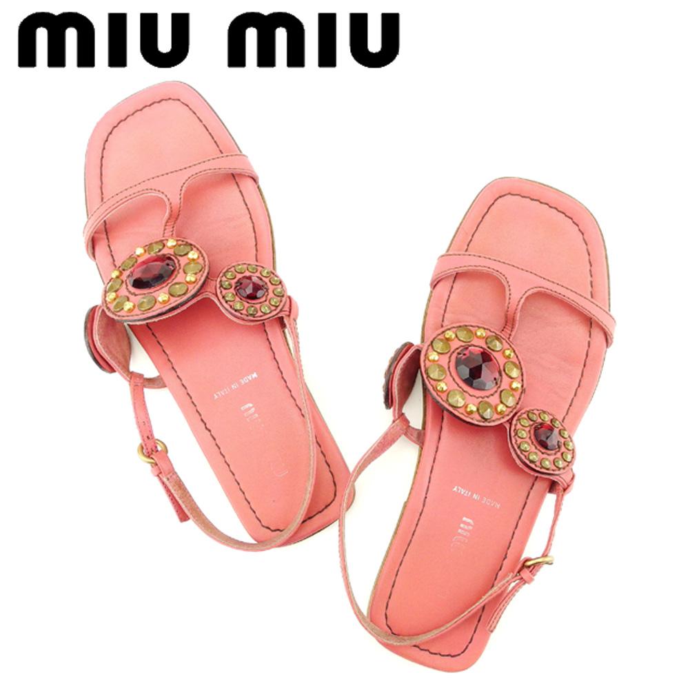 【中古】 ミュウミュウ miumiu サンダル シューズ 靴 レディース ♯37 Tストラップ ピンク レッド ゴールド レザー C3252