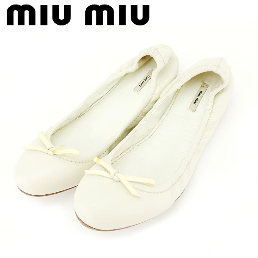 【中古】 ミュウミュウ miu miu パンプス シューズ 靴 レディース ♯36 フラット リボン バレエ ホワイト 白 ベージュ ブラウン レザー 人気 良品 C3253 .
