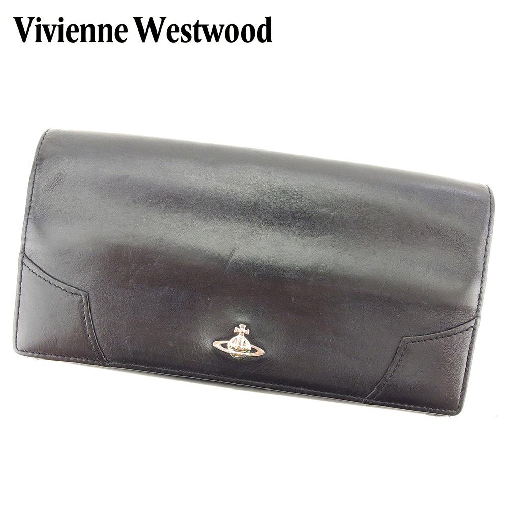 【中古】 ヴィヴィアン ウエストウッド Vivienne Westwood 長財布 がま口 財布 レディース メンズ オーブ ブラック シルバー系 レザー 人気 セール H586 .