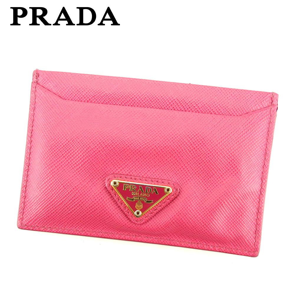 【中古】 プラダ PRADA カードケース パスケース レディース トライアングルロゴ ピンク ゴールド サフィアーノレザーカードケース H592s