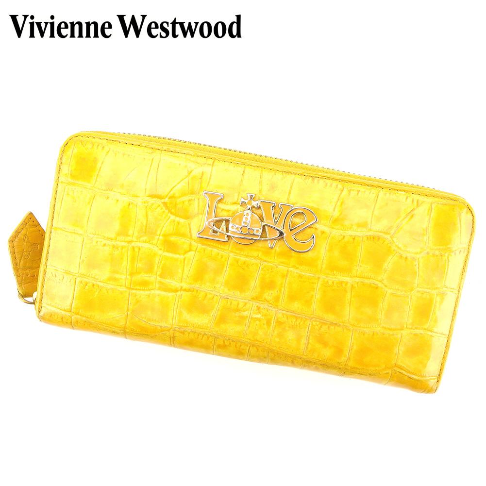 【中古】 ヴィヴィアン ウエストウッド Vivienne Westwood 長財布 ラウンドファスナー 財布 レディース Love オーブ クロコ調 イエロー オレンジ ゴールド 型押しレザー 人気 セール H595 .