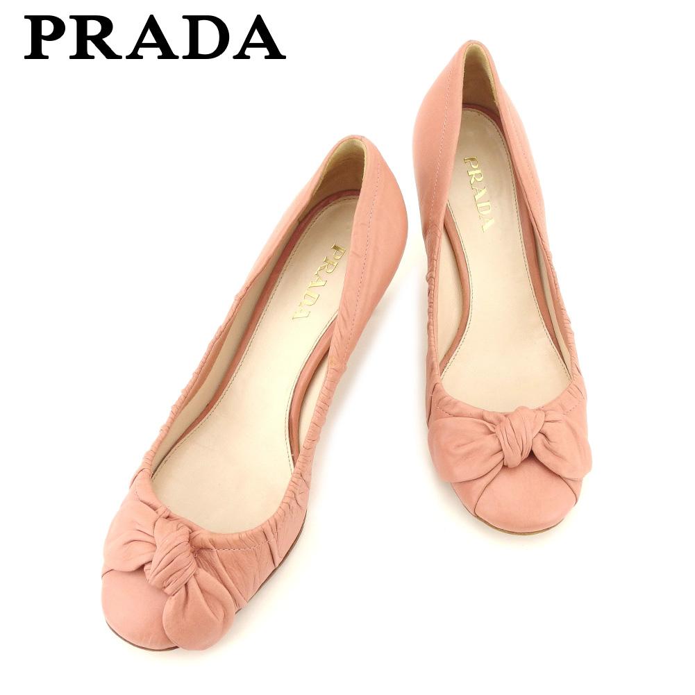 【中古】 プラダ PRADA パンプス シューズ 靴 レディース ♯37ハーフ ラウンドトゥ ピンク ゴールド レザー I508