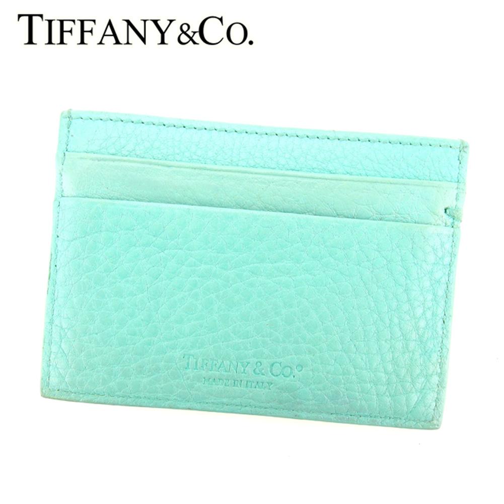 【中古】 ティファニー Tiffany&Co. カードケース カード 名刺入れ レディース ブルー レザー L2432